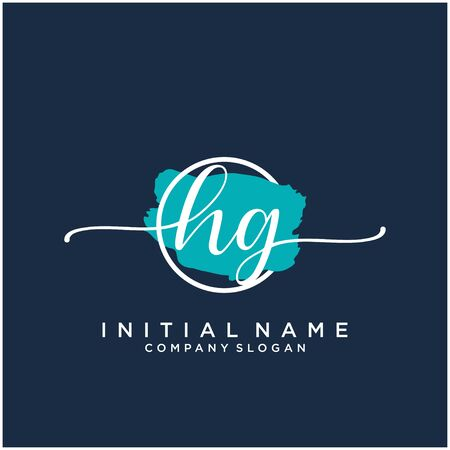 HG Initial handwriting logo design with brush circle