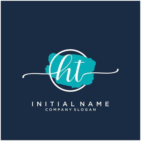 HT Initial handwriting logo design with brush circle