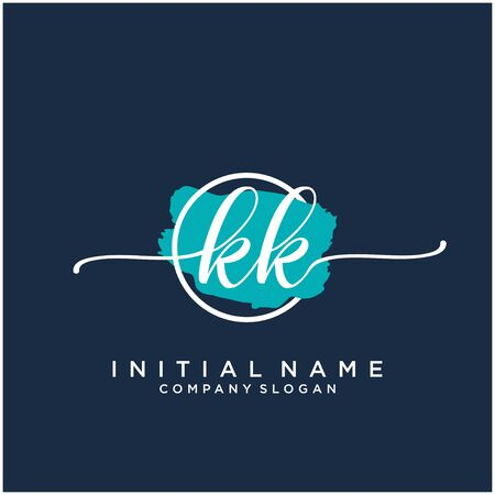 KK Initial handwriting logo design with brush circle Logó