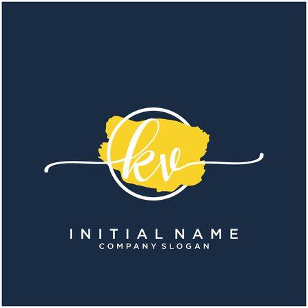 KV Initial handwriting logo design with brush circle