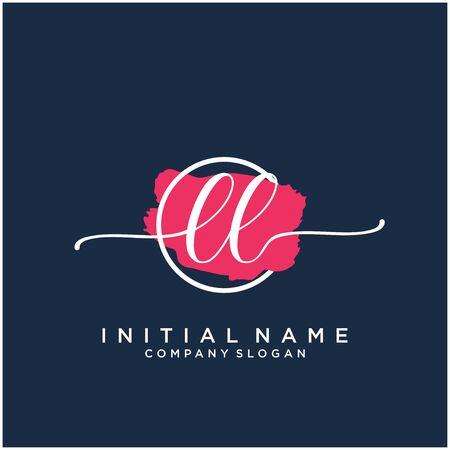 LL Initial handwriting logo design with brush circle