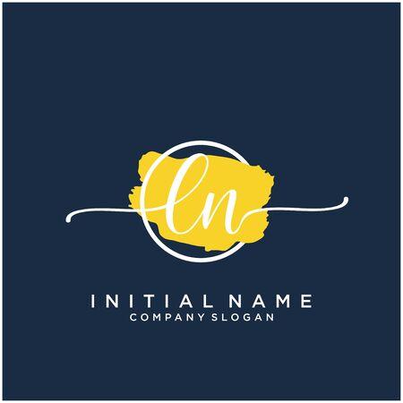 LN Initial handwriting logo design with brush circle
