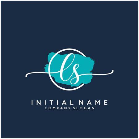 LS Initial handwriting logo design with brush circle
