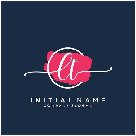 LT Initial handwriting logo design with brush circle