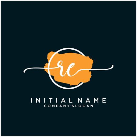 RE Initial handwriting logo design with brush circle
