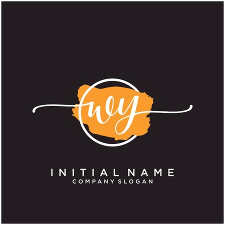 WY Initial handwriting logo design with brush circle