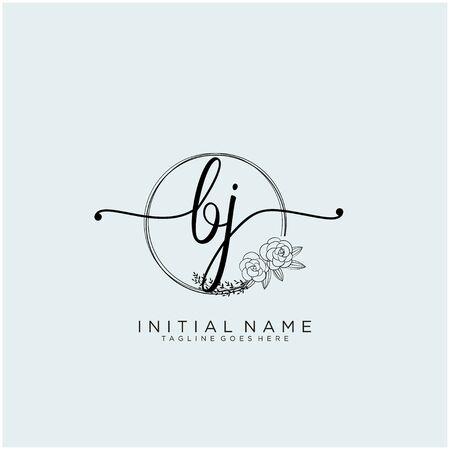 BJ Initial handwriting logo design