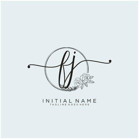 FJ Initial handwriting logo design Logó