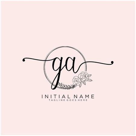 GA Initial handwriting logo design
