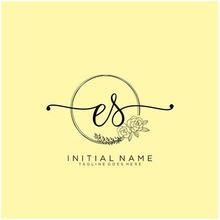 ES Initial handwriting logo design