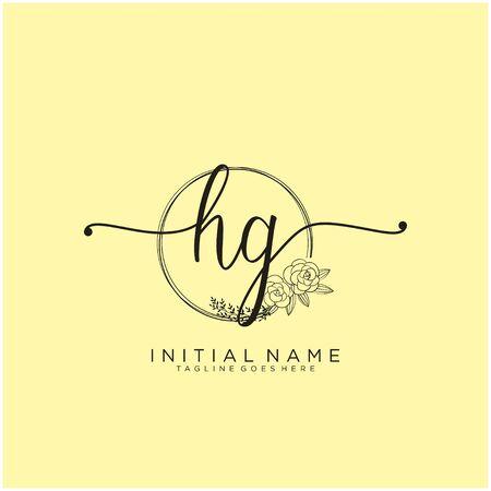 HG Initial handwriting logo design Logó