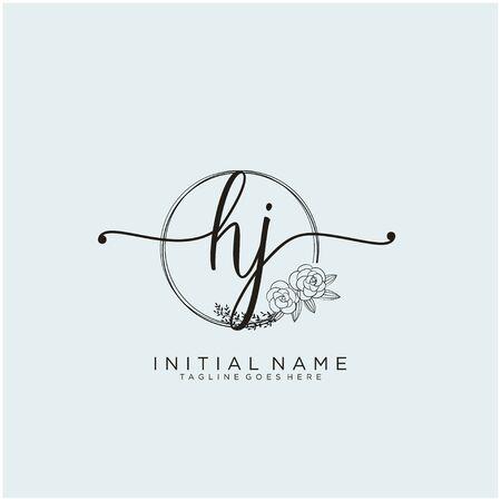 HJ Initial handwriting logo design Logó