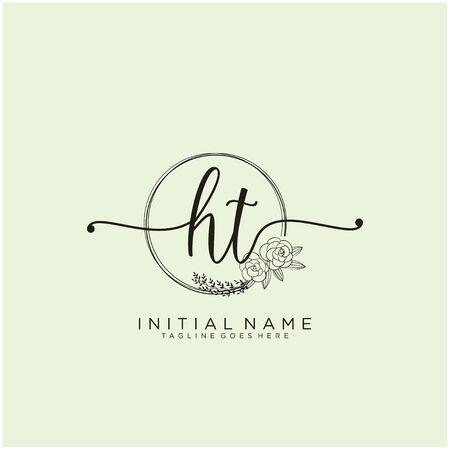 HT Initial handwriting logo design