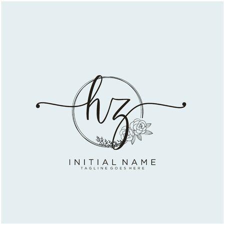 HZ Initial handwriting logo design