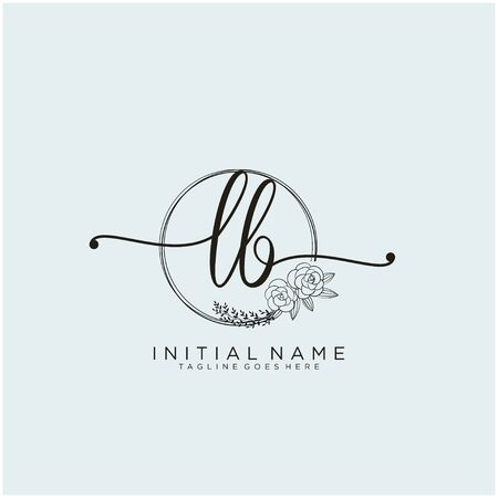 LB Initial handwriting logo design Illustration