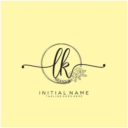 LK Initial handwriting logo design
