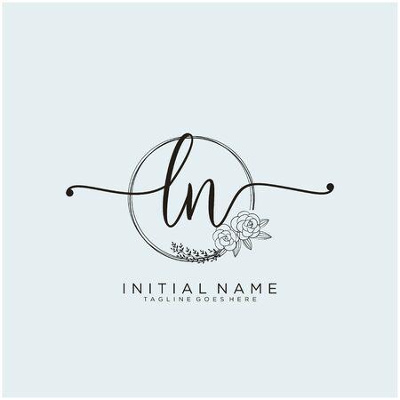 LN Initial handwriting logo design
