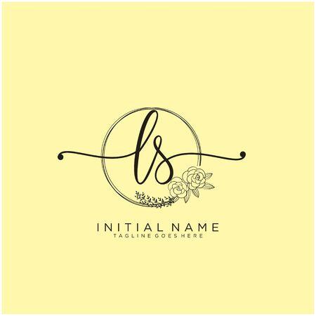 LS Initial handwriting logo design