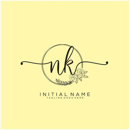 NK Initial handwriting logo design Ilustração