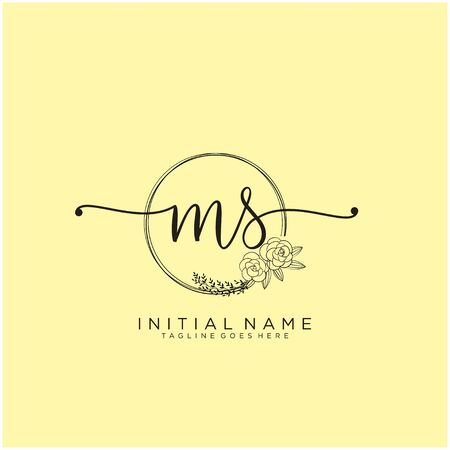 MS Initial handwriting logo design