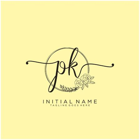 PK Initial handwriting logo design
