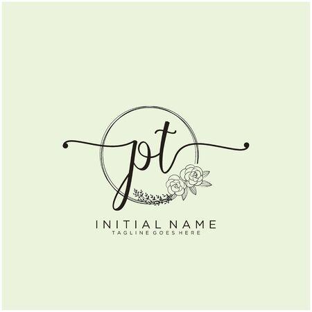 PT Initial handwriting logo design