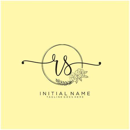 RS Initial handwriting logo design