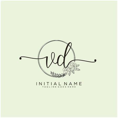 VD Initial handwriting logo design