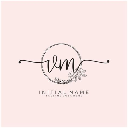 VM Initial handwriting logo design