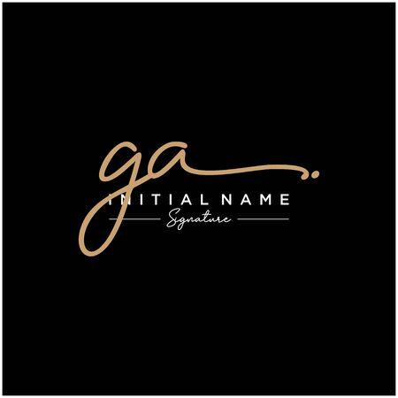 Letter GA Signature Logo Template Vector