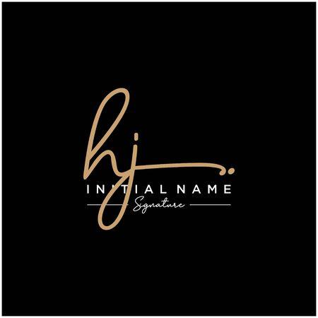 Letter HJ Signature Logo Template Vector