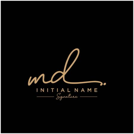 Letter MD Signature Logo Template Vector