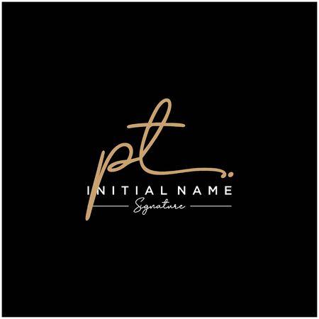 Letter PT Signature Logo Template Vector