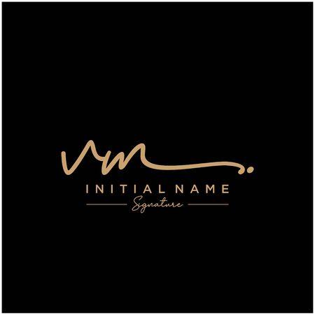 Letter VM Signature Logo Template Vector