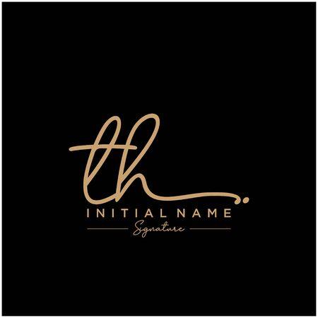 Letter TH Signature Logo Template Vector