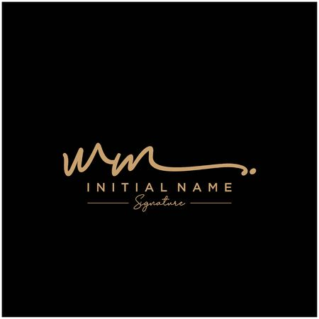 Letter WM Signature Logo Template Vector