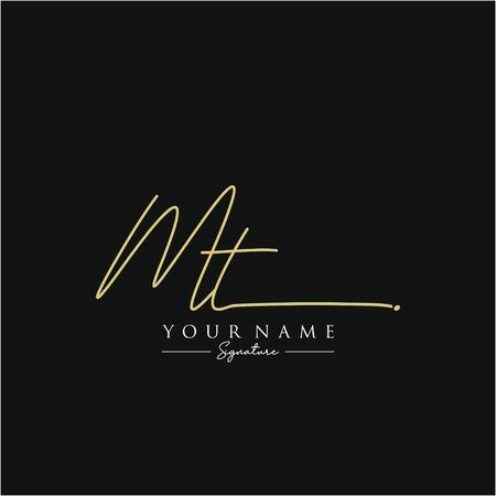 Letter MT Signature Logo Template Vector