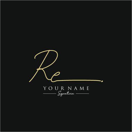 Letter RE Signature Logo Template Vector