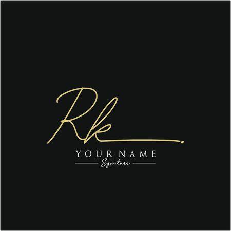 Letter RK Signature Logo Template Vector