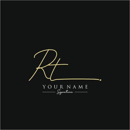 Letter RT Signature Logo Template Vector