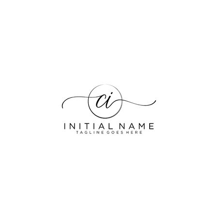 CI Initial handwriting logo with circle template vector.