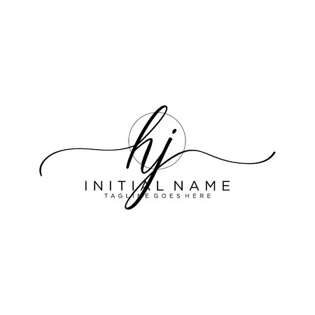 HJ Initial handwriting logo with circle template vector.