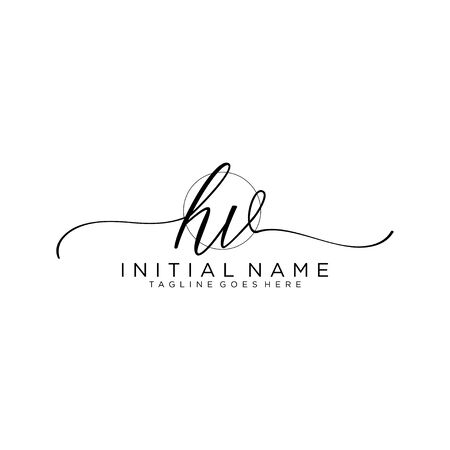 HV Initial handwriting logo with circle template vector.