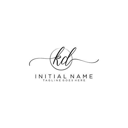 KD Initial handwriting logo with circle template vector.