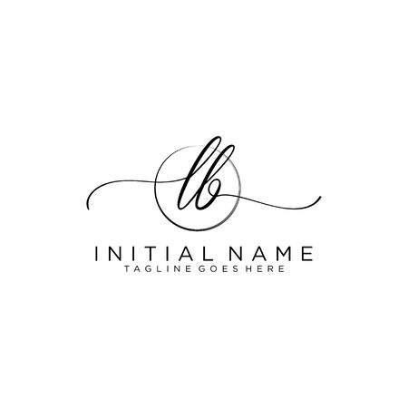 LB Initial handwriting logo with circle template vector.