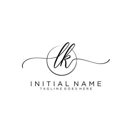LK Initial handwriting logo with circle template vector.