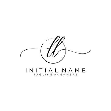 LL Initial handwriting logo with circle template vector. Logó
