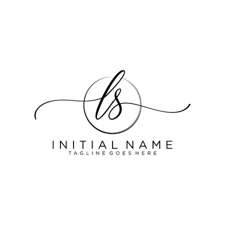 LS Initial handwriting logo with circle template vector.