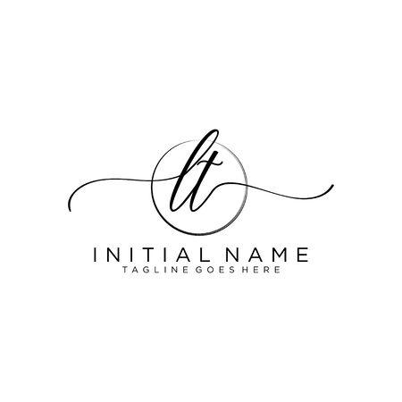LT Initial handwriting logo with circle template vector. Illusztráció