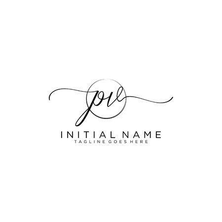 PV Initial handwriting logo with circle template vector.